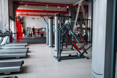 Gym interior, nobody, sport equipment Stock Photography