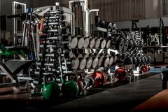 Gym interior with sports equipment Stock Photos