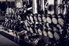 Gym interior with sports equipment Royalty Free Stock Images