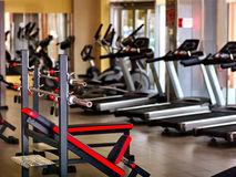 Gym interior with treadmill equipment Stock Photography