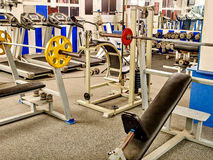 Gym interior with treadmill equipment Stock Photos