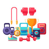 Gym Inventory Items Collection. Flat Colorful Vector Illustration With Fitness Inventory. Training Equipment Vector Illustration Stock Photography