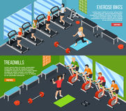 Gym Isometric Banner Set. Two horizontal gym isometric banner set with read more link and exercise bikes treadmills descriptions vector illustration Stock Photography