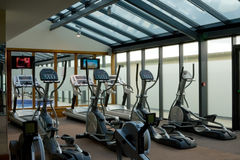 Gym with jogging simulators Royalty Free Stock Photos