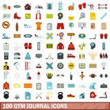 100 gym journal icons set, flat style. 100 gym journal icons set in flat style for any design vector illustration Royalty Free Illustration