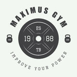 Gym logo in vintage style. Vector illustration. Royalty Free Stock Image