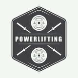 Gym logo in vintage style. Vector illustration. Stock Photo