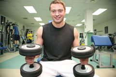 Gym man with dumbbell 4 Royalty Free Stock Photo