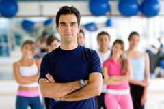 Gym man with group Royalty Free Stock Images