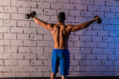 Gym man rising hex dumbbells weightlifting rear Royalty Free Stock Photo