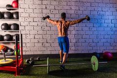 Gym man rising hex dumbbells weightlifting rear Royalty Free Stock Photography