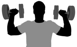 Gym man silhouette. Gym man with dumbbells vector silhouette Royalty Free Stock Photos