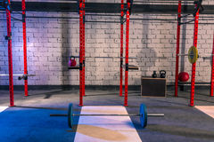 Gym nobody with barbells kettlebells and bars. Gym nobody with barbells kettlebells bars and weightlifting gear Royalty Free Stock Images