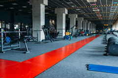Gym nobody, empty fitness club. Gymnastic exercisers. Sport center equipment Stock Photography
