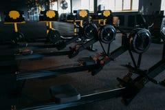 Gym nobody, empty fitness club. Training machine. Gym nobody, empty fitness club. Strength training machine. Sport center equipment Royalty Free Stock Image
