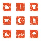 Gym occasion icons set, grunge style. Gym occasion icons set. Grunge set of 9 gym occasion vector icons for web isolated on white background Royalty Free Stock Photography