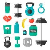 Gym, opieki zdrowotnej i sporta płaskiego projekta ikony ilustracyjny set, Na biel Zdjęcia Stock