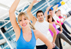 Gym people in aerobics class Royalty Free Stock Images