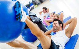 Gym people exercising Stock Photo
