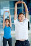 Gym people stretching Stock Photos