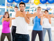Gym people stretching Stock Photo