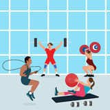 Gym people workout together fitness center exercise man woman health fit indoors. Vector Royalty Free Stock Images