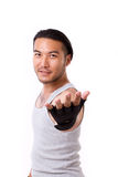 Gym personal trainer giving you a welcoming invitation hand gest Royalty Free Stock Images