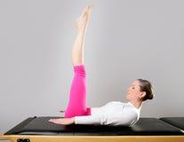 Gym pilates woman reformer yoga leg sport Royalty Free Stock Photos