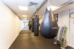 Gym for practicing kickboxing in Falcone fitness center. Belarus Stock Photo