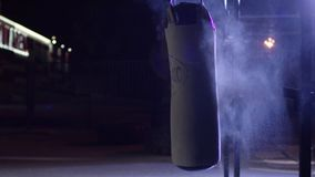 Free Gym,Punching Bags. Punching Bags In Boxing Room, Sport. Punching Bag At The Dark Sports Ground Stock Photo - 102606150