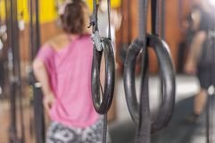 Gym rings in the crossfit box royalty free stock image