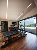 Gym room with gym tool with parquet Royalty Free Stock Photos