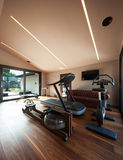 Gym room with gym tool with parquet Stock Image