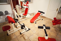 Gym room training machines Stock Photo