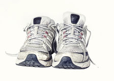 Gym running shoes sneakers trainers Stock Images