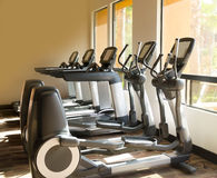 Gym. Running and step mashine in the gym Royalty Free Stock Photography