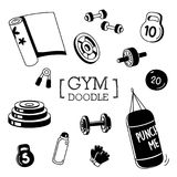 Gym`s stuffs Doodle.Hand drawing of Gym stuff. Vector illustration Royalty Free Stock Images