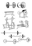 Gym equipment. Vector set including ten objects related to gym equipment isolated on white background Stock Image
