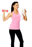 Gym shake woman Stock Images