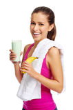 Gym shake woman Royalty Free Stock Photography