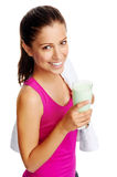 Gym shake woman Stock Photo