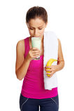 Gym shake woman Stock Photography
