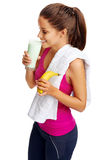 Gym shake woman Royalty Free Stock Image