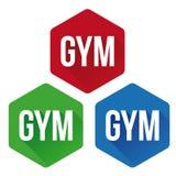 Gym sign button set Stock Image