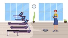Gym smart cleaning flat vector illustration vector illustration