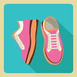 Gym sneakers on side and front view over isolated flat. Vector icon pink gym sneakers on side and front view over isolated flat with long shadow vector illustration