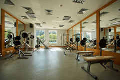 Gym with special equipment, empty, horizontal. The gym with special equipment. Empty interior Royalty Free Stock Photos