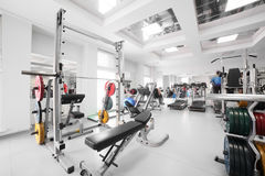 Gym with special equipment, empty. Interior of new modern gym with equipment Stock Photography