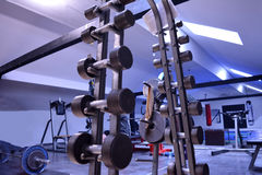 Gym or a sport club in details. Blue Stock Photography