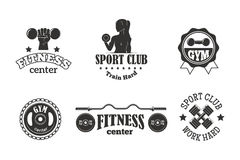 Gym sport club fitness emblem vector illustration. Royalty Free Stock Photography